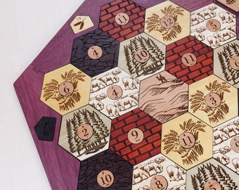 Wood Game Board *Seafarers* | Exotic Hardwood | 5-6 Player Extension (Add-on), Laser Cut, Personalized