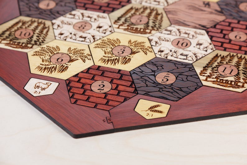 Wood Game Board  Exotic Hardwood  3-4 Player Laser Cut image 0