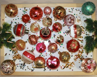 christmas ornaments vintage decorations glass baubles set of 25pieces1970s from soviet union ussrfeather tree christmasnew year decoration - Holiday Value Decorative Christmas Set