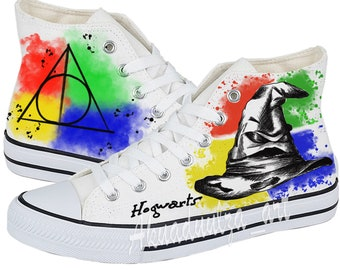 Harry potter inspired hand painted shoes / Hogwarts / The Sorting Hat design painted summer shoe