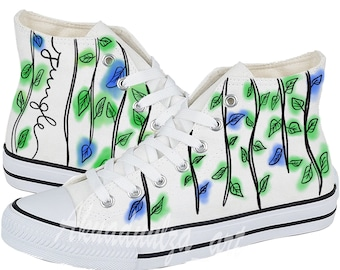bd29926cfb9d7d Tropical jungle leaves painted Personalised Unisex Shoes   Summer shoe with  watercolour effect