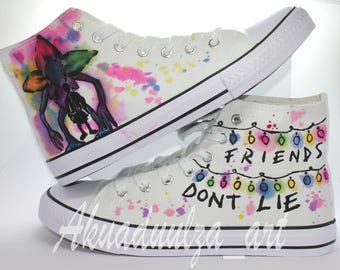 f43567b3f3fd Stranger Things Summer Style Shoe / Friends Don't Lie Personalised Unisex  Shoes / Demogorgon Watercolored Theme
