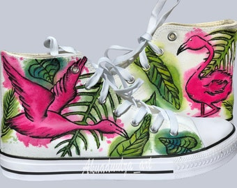 cc7f834c32503f Flamingo painted Personalised Unisex Shoes   Tropical flamingo shoe with  watercolour effect