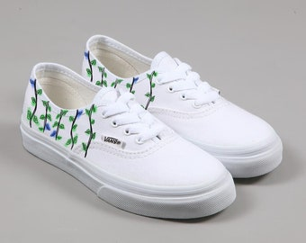 d22ba48df717fd Tropical jungle leaves Hand Painted Vans Shoes   Summer Vans shoe with  watercolour effect