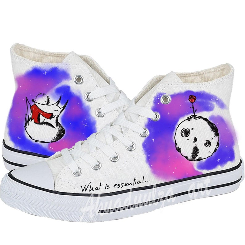 The Little Prince and the Fox Galaxy Hand Painted Personalised Unisex Shoes