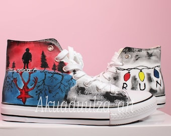 Stranger Things Inspired Hand Painted Shoe / Hand Painted Personalised Unisex Shoes / Upside Down Stranger Things