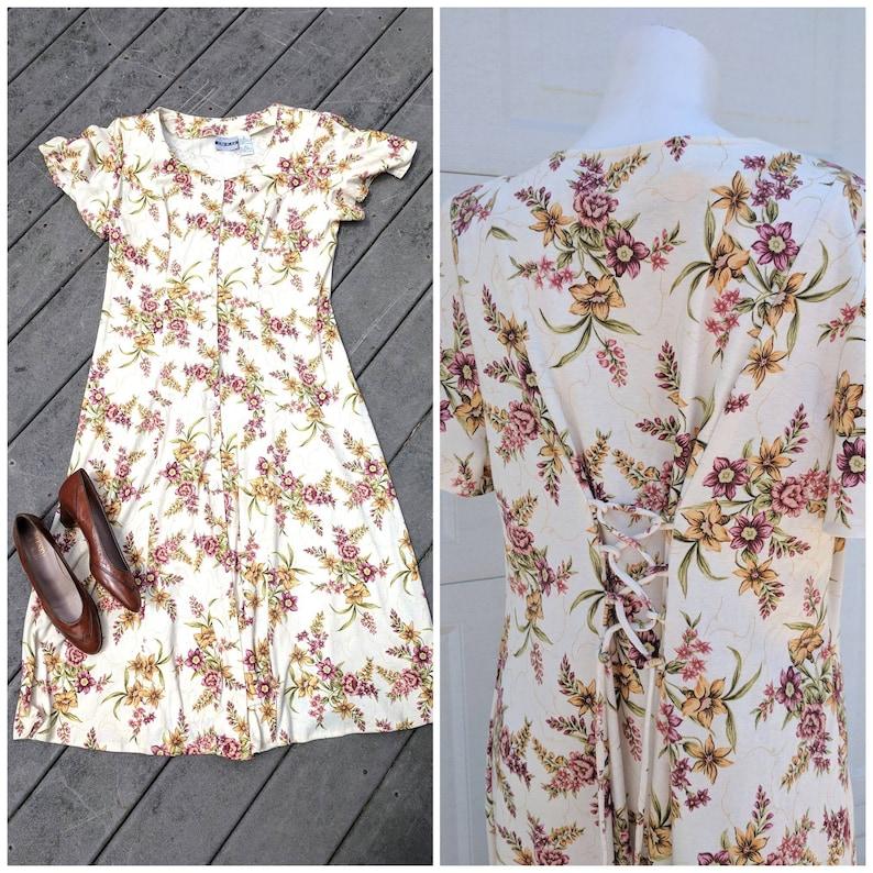 VTG Button Up Dress w Corset Tie Vintage 90/'s Cream Colored Floral Midi Dress L