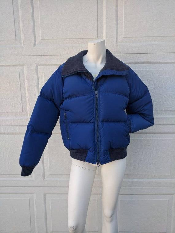 Vintage 1980's Blue Cropped Puffer Jacket || Vinta