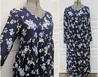 Vintage 90's Babydoll Midi Dress || VTG Blue Floral Print Long Sleeve Dress, S