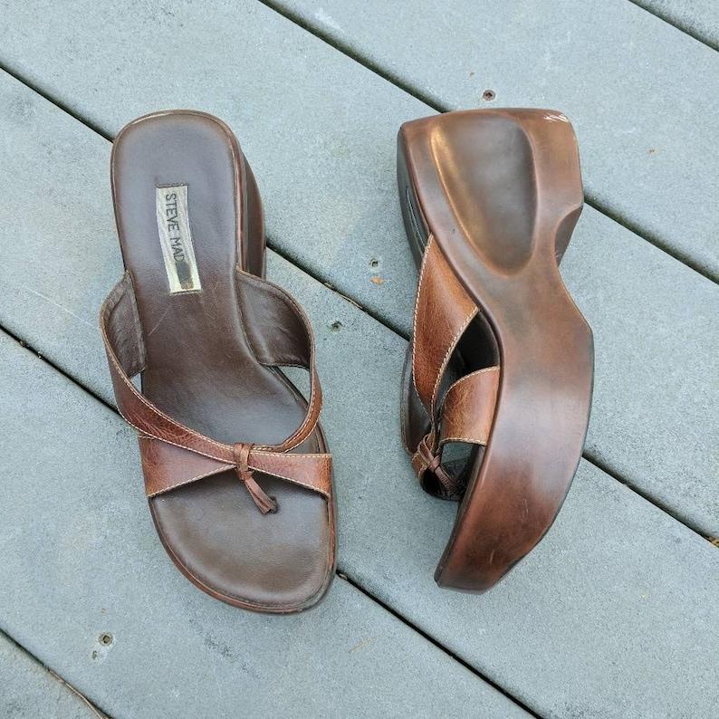 efc3cbc860db Vintage 90 s Wooden Platform Sandals Y2K Brown Thong