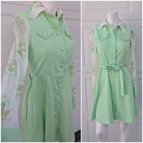Vintage 1970's Green Button-Up Midi Dress W Sheer