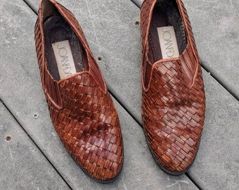Vintage Dark Brown Woven Leather Flats || VTG Italian Leather Loafers, 8.5
