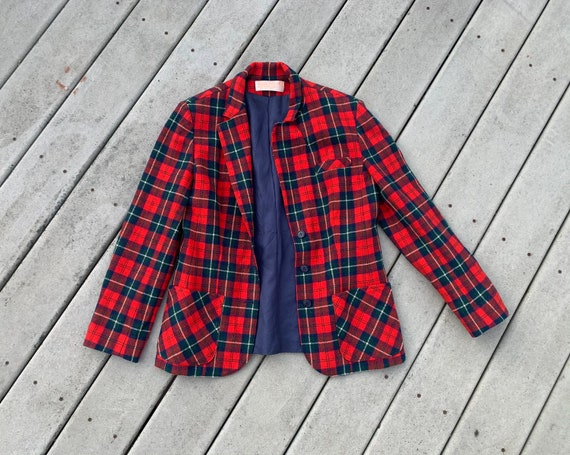 Vintage Red Plaid Pendleton Blazer || Vintage 90's