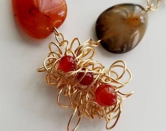 Handmade Carnelian Necklace Set, Carnelian Necklace,  Woven Necklace, Statement Earrings, Women's Jewelry, Natural Stone Necklace