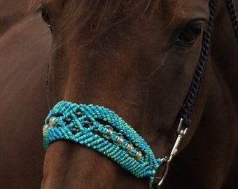 Beautiful handwoven beaded bitless attachment (can also come as a noseband or complete bridles for regular or bitless styles)