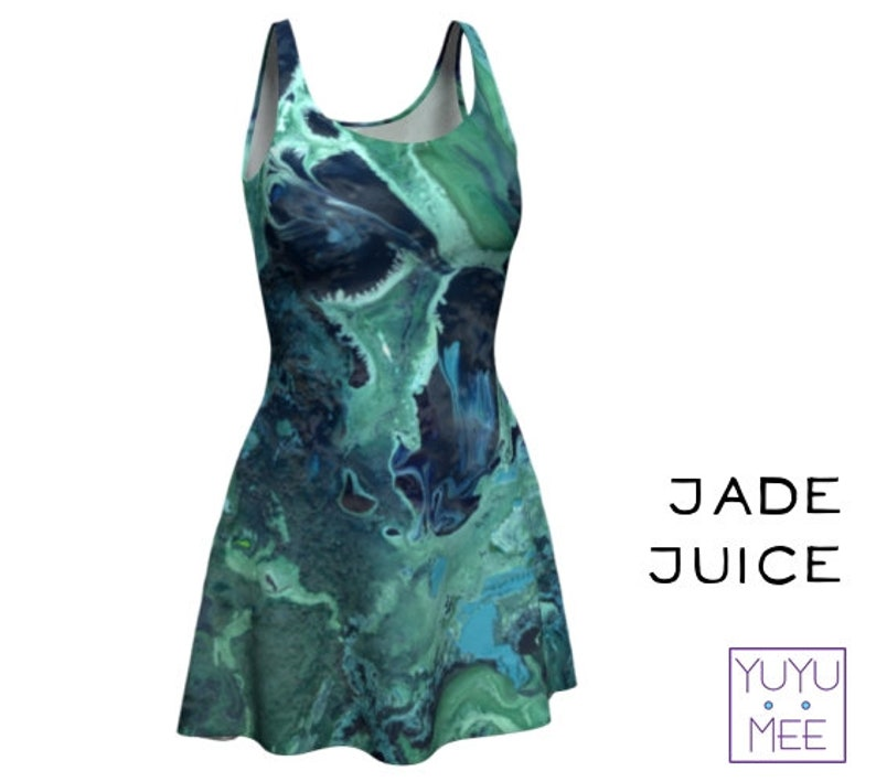Jade Juice Flare Dress Swirl Paint Pour