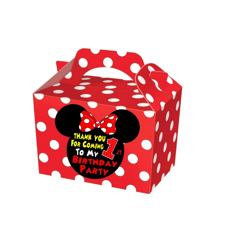 Mickey /& Minnie Mouse Birthday Party Bag Personalised Treat Gift Sweets Box x1