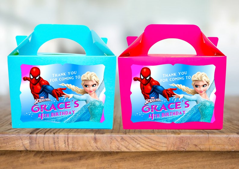 Spider Man Elsa Frozen Party Boxes Treat Sweets Lunch Gift Boxes Personalised X 6 Boxes