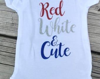 Red, White, and Cute 4th of July Onesie, Custom Onesie, America, USA, Patriotic Onesie