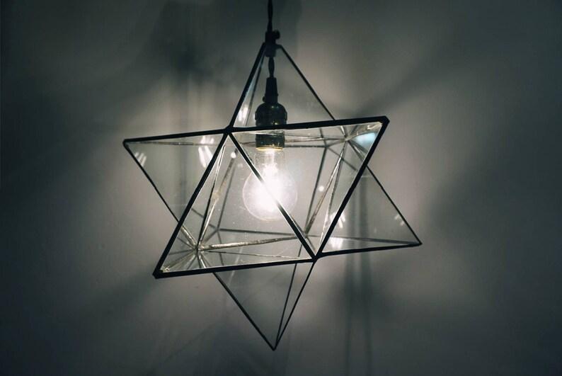 Ceiling light Merkaba star Modern Lighting Pendant Light Home Lighting Handmade Light Minimalist Lighting Stained Glass lamp