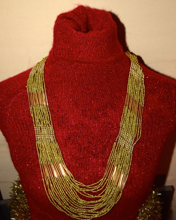 Red and Gold Ball Necklace 28 inches long  Estate Vintage