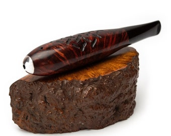 Briar wood cigar pipe rusticated  9 mm filter ebonite stem - Zeppelin pipe by KAFpipe - Torpedo pipe for smoking tobacco - Gift for smoker