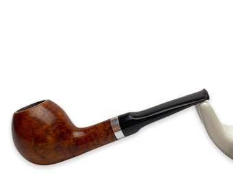 Briar wood pipe - classic tobacco pipe with metal ring - cold smoke - gift for smoker - wooden smoking pipe kit for beginner - engrave pipes