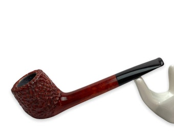 Briar tobacco pipe - straight classic pipe - rusticated briar wood bowl - kafpipes - smoking pipe for beginner smoker - wooden canadian pipe