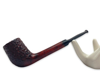 Beginner smoking pipe - briar wood rusticated bowl - canadian shape - tobacco pipe kit - kafpipes - lightweight pipes - gift for smoker