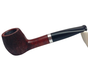New briar pipe - smoking pipe with metal ring - partially rusticated tobacco pipe - briar wood handmade pipe with ebonite stem 9 mm