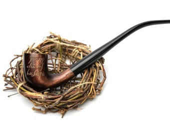Long wooden tobacco smoking pipe Churchwarden style - Custom pipe - Personalised pipe - LOTR wedding gift - Best gift for man smoker