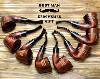 Personalised Tobacco Pipe - Custom Engraved Smoking Pipe - Best Man gift - Groomsmen Gifts - Monogram pipe - Fathers Day Gift - Mens gift