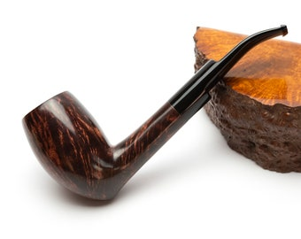 Briar Tobacco Pipe Briar Smoking Pipe Gift for Father smoker Freehand Smooth Paneled Hexagon Shape Cherry Color Briar Wood Bowl