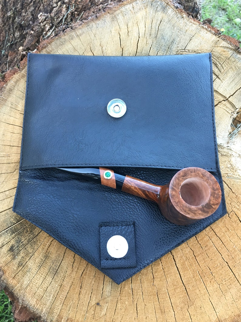Tobacco Pipe Pouch Black Vegan Leather Belt Bag Wooden Smoking Bowl Case Pipe and Accessory Pipe Holder Gift for Smoker