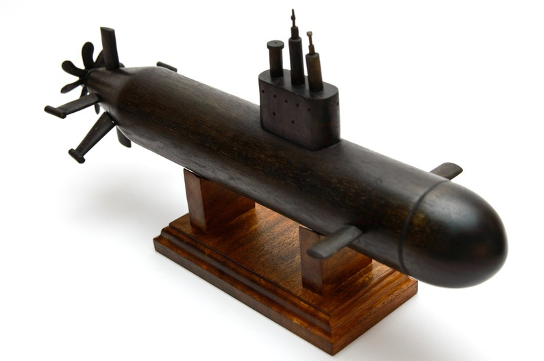Hand Carved Wooden Submarine -Graduation Gift - Pear Wood Sub Model Gift -  USS Los Angeles SSN-688i Improved Class Submarine