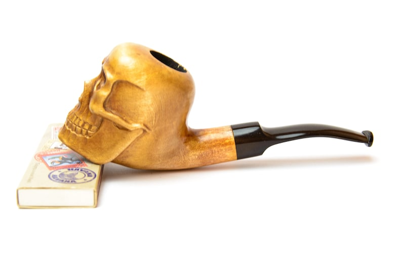 Hand carved pear wood Tobacco pipe Skull Wooden smoking bowl  Gift for man Smoker  Pirate pipe  Gift for Goth  Halloween pipe