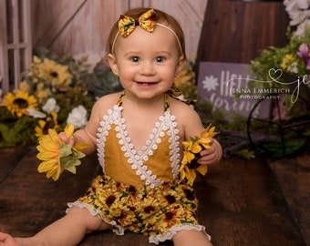 89dc12bb2 Sunflower Romper- Sitter Outfit, Sunflower-theme Photo Prop