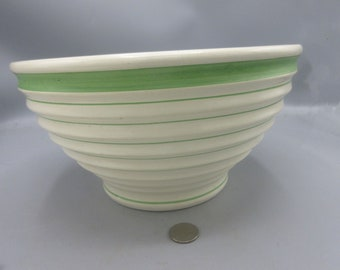 Art Deco Ridged 1940s  Large Mixing Bowl Green Bands  Unusual Great Size