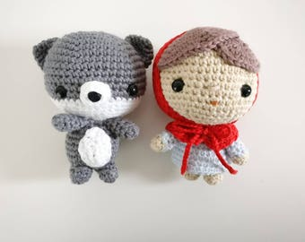 Crochet Red Riding Hood and Wolf Amigurumi