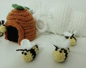 Baby mobile crocheted bee,clouds and hive /nursery decor