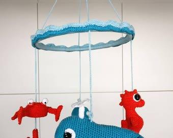 Crochet Sealife baby mobile