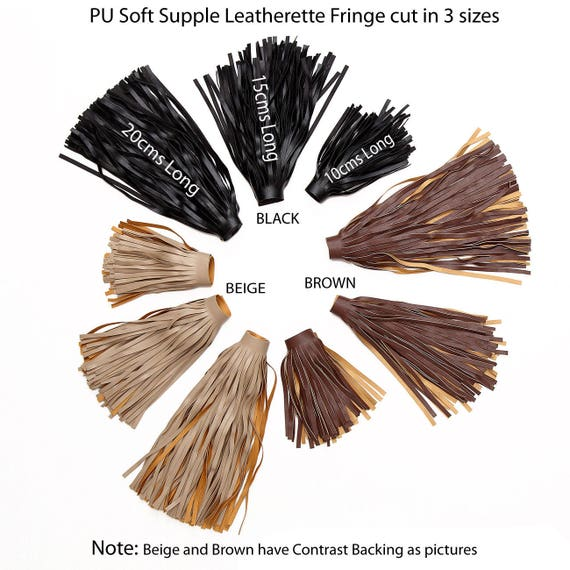15cm WIDE AVAILABLE IN 3 COLOUR 1 METRE FAUX LEATHER FRINGING TRIM