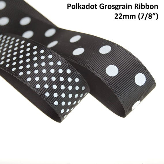 "3-8 Yds Brown Pink or Blue Polka Dot Polkadot Woven Jacquard Ribbon 7//8/""W"