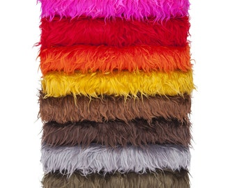 Faux Fur Fabric,Furry Sheep Wool,Photography.For Photography Crafts & Apparel.15 Stunning Natural, Bright Colours,Fat Square 50x40 cm