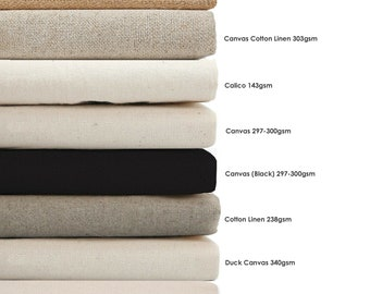Cotton Canvas,Calico & Cotton Linen Mix Fabrics for Craft,Paint,Apparel Light Upholstery.Unbleached Eco-Friendly Vegan Material.Dyeable