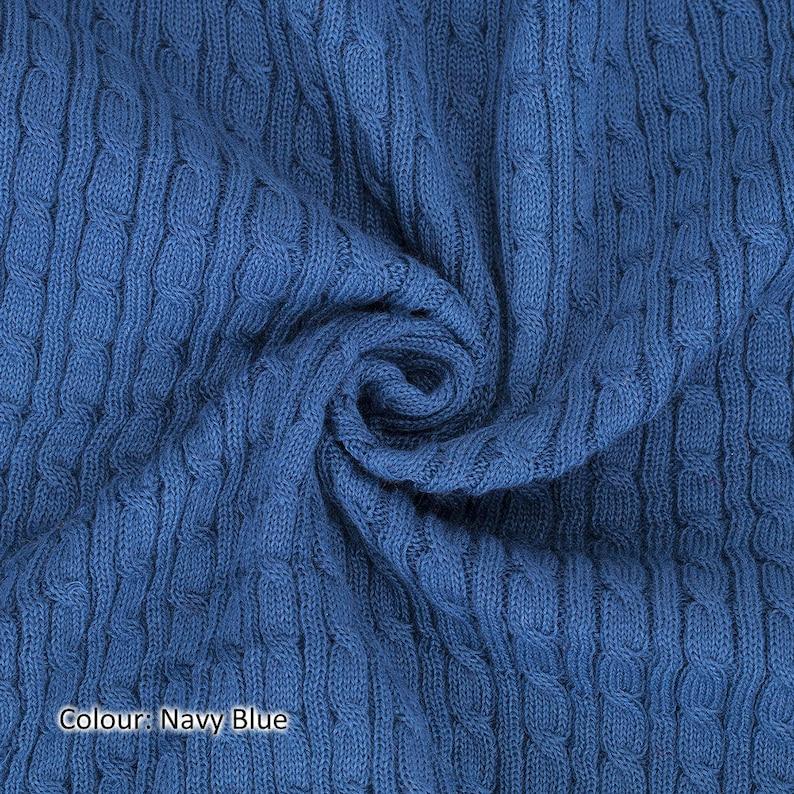 84831f37cc1da8 Marineblauw kabel Twist gebreide stof Selvage rand gebreide