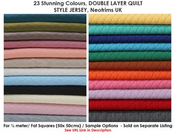 Quilted Knit Jersey Fabric Double Layer Knitted,Harlequin Diamond Pattern.Outer or Baby,Insulate as Lining.Soft Luxurious Handle,Neotrims