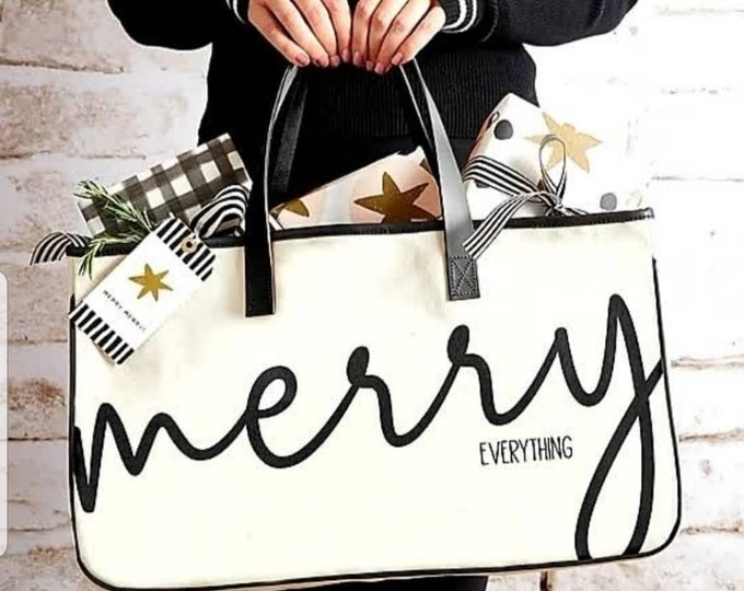 Canvas Tote- Merry Everything, Holiday Tote, Holiday Tote Bag