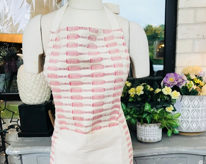 Red and White Pattern Apron