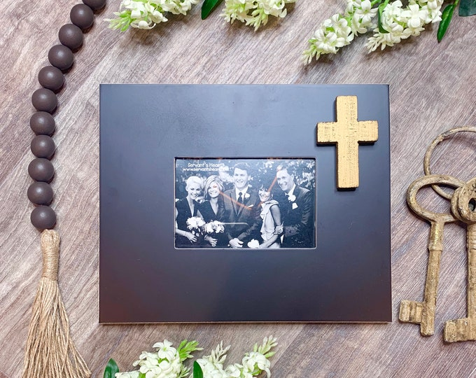 Wood Cross with Black Frame